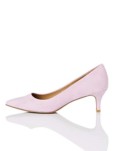 FIND Point Toe Kitten Heel Court Zapatos de Tacón, Beige (Pink), 37 EU