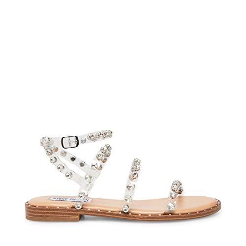 Steve Madden Sandalo Flat Trasparente con Borchie, con Tre Fasce e Laccio alla Caviglia