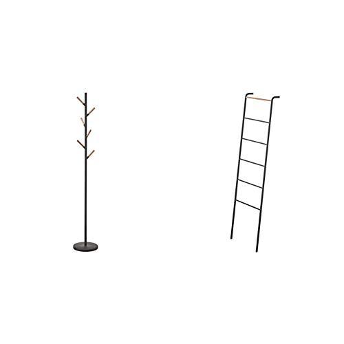 Yamazaki Home Coat Hanger, One Size, Black & Home Leaning Ladder Rack, One Size, Black