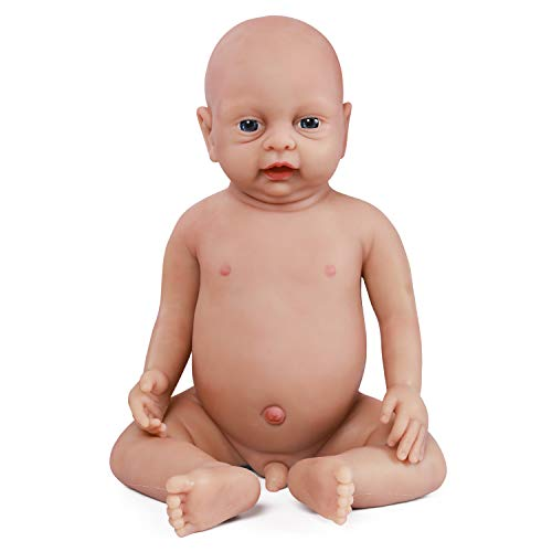 Vollence 46 cm Realistische Reborn Babypuppe, PVC-Frei, Echte Ganzkörper Silikon Baby Puppen, Handgefertigt aus lebensechtem Silikon Baby-Puppe mit Kleidung - Junge