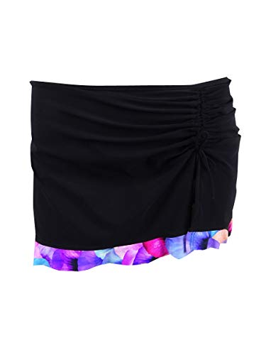 Profile by Gottex Women's Plus-Size Asymmetrical Side Tie Skirted Swimsuit Bottom, Pocket Full of Posies Black, 16W