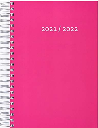 Calendario grueso 2021 2022 (31.7.21-31-7-22), color frambuesa, espacio por día en una página DIN A4 completa