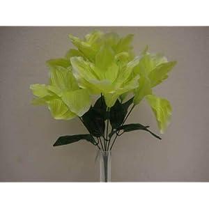 16″ Bouquet 2 Bushes Green Amaryllis Artificial Silk Flowers LivePlant