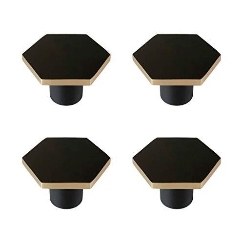 Tiazza - Set di 4 30mm pomelli esagonali in ottone a foro singolo, per armadi, cassetti, colore: nero