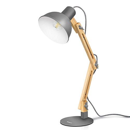 Tomons LED Leselampe im Klassichen Holz-Design, Schreibtischlampe Grau, Tischleuchte Verstellbare, Verstellbarem Arm, Nachttischlampe