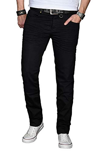 A. Salvarini Designer Herren Jeans Hose Basic Stretch Jeanshose Regular Slim [AS028 - Schwarz - W34 L32]