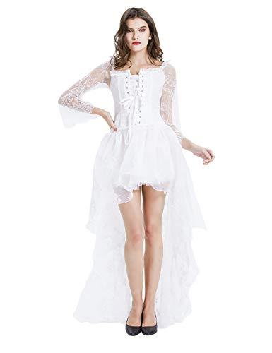 EZSTAX Vintage Kleid Korsage Retro Damen Kleider Kostüm Gothic Verkleidung für Cosplay Halloween Party Karneval ,Weiß,M