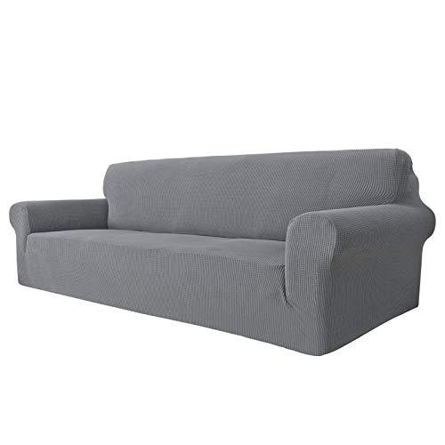 MAXIJIN Funda de sofá superelástica para sofá de 4 plazas, extragrande, universal, fundas de sofá jacquard y elastano, protector de muebles de perro (4 plazas, gris claro)