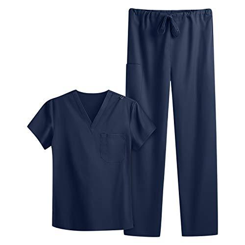 Mymyguoe Casacas Conjunto de Dos Piezas túnica sin Cordones Túnica de Mujer para el Aseo Escote en V de 1/2 Brazo 2 Bolsillos Laterales con Costuras (Navy, M)