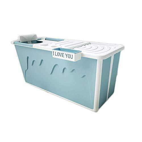 MY1MEY Bañera portátil para Adultos, bañera Plegable, bañera para niños domésticos, TPE + PP, con Cubierta Aislante multifunción, diseño de Orificio de Drenaje,120x53x43cm (Color: Azul)