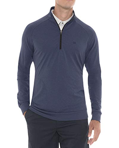 Mens Lightweight Dry Fit Pullover - Long Sleeve Half Zip Golf Jacket for Men Navy Blue