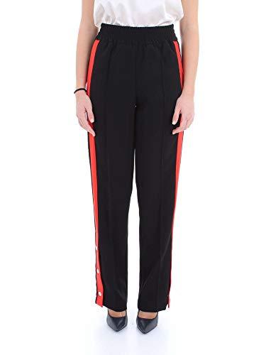 PINKO Damen Degno Pantalone Crepe Hose, Mehrfarbig (Nero/Rosso/Bianco Zrd), 34 (Herstellergröße: 40)