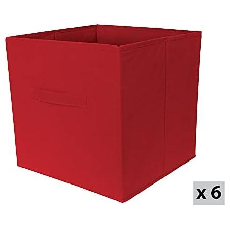 Box and Beyond Lot de 6 paniers intissés Pliables - avec poignées - Polypropylène - Rouge - 31x31x31cm