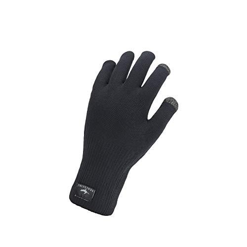 SEALSKINZ Unisex Wodoodporne Na każdą pogodę Ultra Grip Dzianinowe rękawiczki, Czarne, Duże