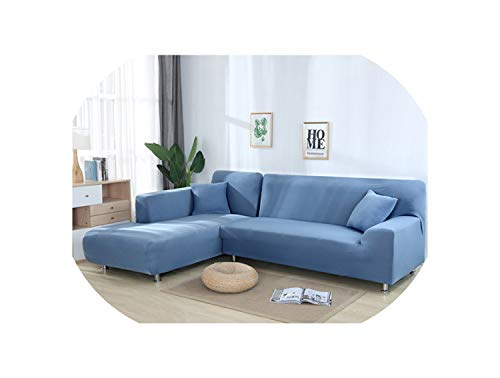 Spinning Solid Color Elastic Sofa Cover for L Shaped Sectional Corner Chaise Longue Sofa Stretch Couch Cover Slipcovers for Living Room,Grey Blue,3-Seat and 3-Seat