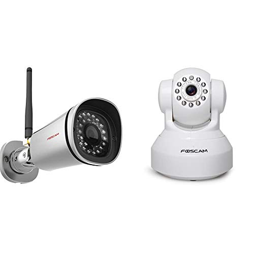 Foscam FI9800P Telecamera, HD 1.0 MP, H.264, 720p, Esterno, Visore Notturna, Rilevatore Movimenti & FI9816P/W Telecamera IP Motorizzata di Sorveglianza Cloud Wireless, HD 720p