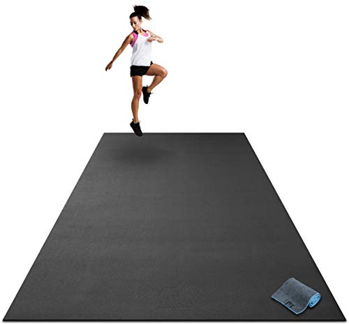 "Premium Extra Large Exercise Mat - 9' x 6' x 1/4"" Ultra Durable, Non-Slip, Workout Mats for Home Gym Flooring - Plyo, MMA, Cardio Mat - Use with or Without Shoes (108"" Long x 72"" Wide x 6mm Thick)"