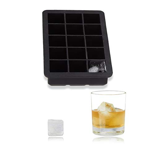 Relaxdays Eiswürfelform aus Silikon, für 2,5 cm Eiswürfel, BPA-frei, Eiswürfelbehälter, HxBxT: 3 x 15 x 9,5 cm, schwarz