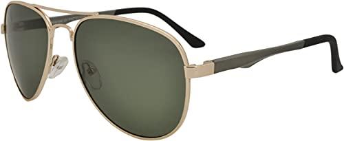 SQUAD Gafas de sol hombre y mujer polarizadas Piloto 100% protección UV400 Doble puente lentes verde G-15