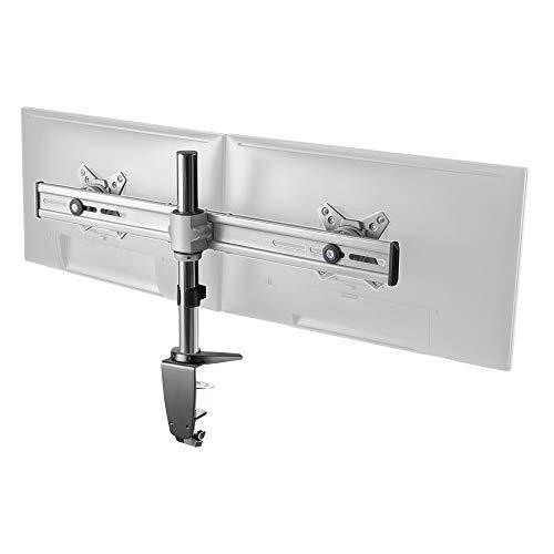 RICOO Supporto Monitor montaggio di tavolo per schermo TS3611 Staffa per 2 monitor Supporto doppio monitor orientabile staffe colonna per monitor schermo piatto VESA 100x100