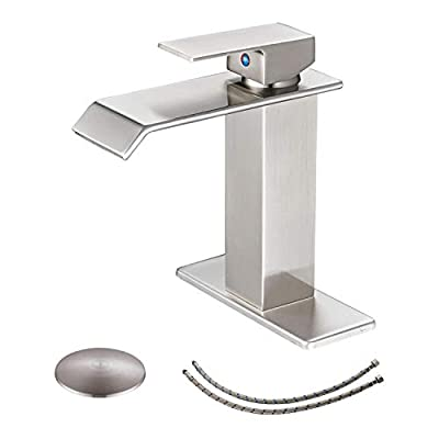 BWE Waterfall Commercial Spout Brushed Nickel Single Handle One Hole Bathroom Sink Faucet Deck Mount Lavatory