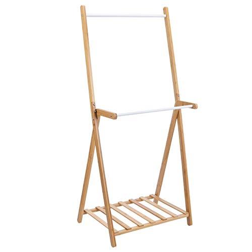 Burro para ropa de doble barra de bambú, natural