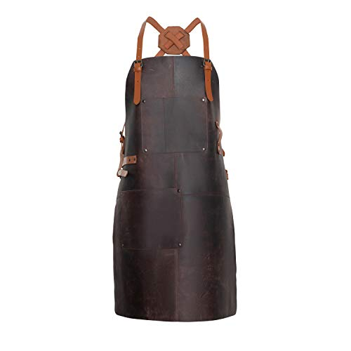 Theodore Leather Apron - Full Grain Cow Leather with Crossback Leather Straps. Ideal as Barbecue, Chef or Woodworking Apron. Has 2 Pockets. Front Straps to Hold Tools. Adjustable to Fit Men and Women
