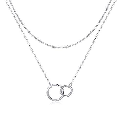 Fettero Collar de Luna, Chapado en Oro de 14 Quilates, Collar Simple, joyería de Luna Delicada, Collar de Regalo para Ella