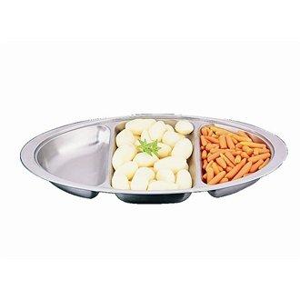 20 Restauration P246 Banquet dish-three Division, acier inoxydable, Ovale, 50,8 cm Diamètre