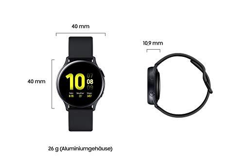 Samsung Galaxy Watch Active2, Fitnesstracker aus Aluminium, großes Display, ausdauernder Akku, wassergeschützt, 40 mm, Bluetooth, Schwarz