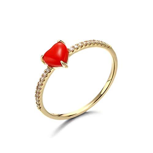 Kalrto S925 Zilveren hartvormige ring voor dames, eenvoudige rode koraal liefdesring, verlovings-/bruiloftssieraad, cadeau