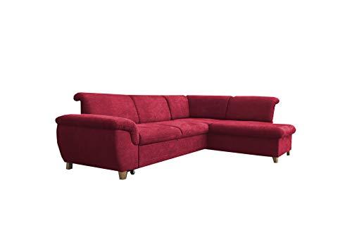 mb-moebel Ecksofa Eckcouch mit Bettkasten Sofa Couch L-Form Polsterecke Andria (Rot, Ecksofa Rechts)