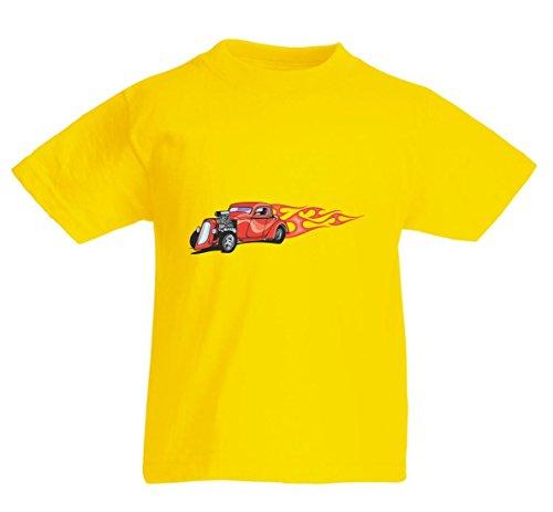Camiseta con texto 'Klassik Oldtimer Motor Einlass Flammen America Amy USA Auto Auto Luxus Breitbau V8 V12 Motor Llanta Tuning Mustang Cobra' para hombre, mujer, niños de 104 – 5 XL amarillo Para Hombre Talla : Small