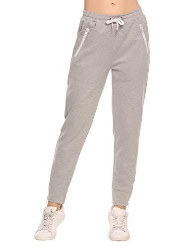 ADOME Damen Hose Jogginghose Casual Elastische Taille mit Tunnelzugbund Jogpants Sporthose mit Taschen Swearthose (EU 36(Herstellergröße:S), Grau)