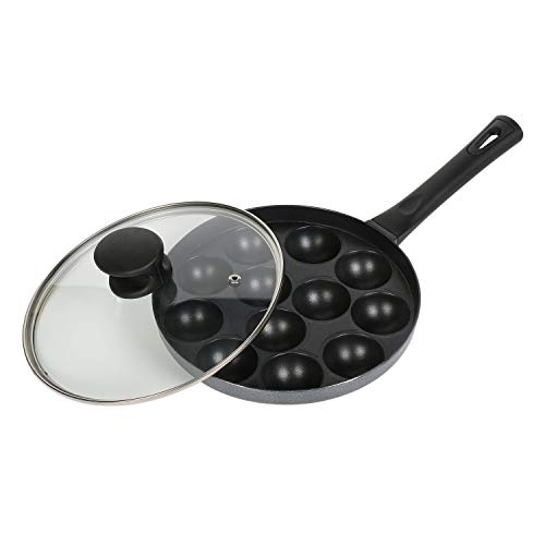Tosaa Appam Patra 12 Cavity Long Handle with Glass Lid, Multicolor