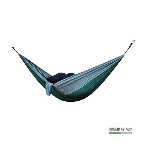 Outdoor dubbele hangmat draagbare parachutedoek 2-persoons tuin hangstoel Slapende reisschommel, bruin