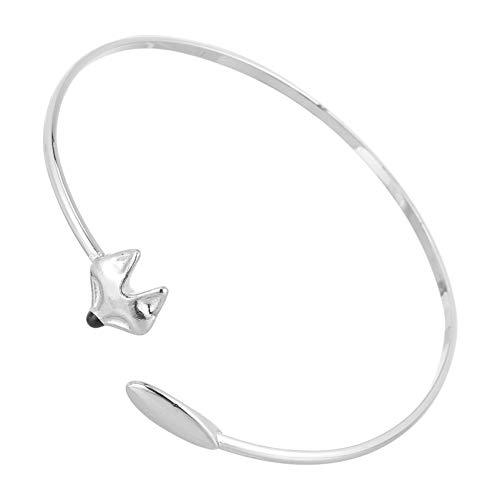 VALICLUD Silber Fuchs Armreif Einfache Manschette Tier Armreif Armband Fuchs Liebhaber Geschenke Themed Party Favors