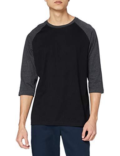 Urban Classics Contrast 3/4 Sleeve Raglan Tee T-Shirt, Nero/Cha, L Uomo