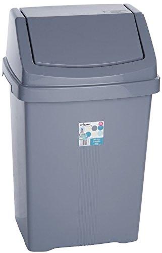 Plástico gris plata Swing papelera caja de basura contenedor para residuos de polvo de basura con tapa, 50L Extra Large