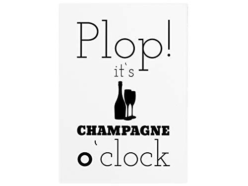 Interluxe 42x30cm houten bord PLOP! It's Champagne O'CLOCK kurken knallen brood meiden vrouw vriendin