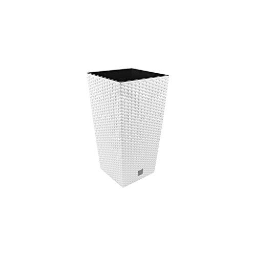 Prosperplast Carre Rato Square Pot de Fleur 7 L en Plastique, rotin Osier Style, en Blanc