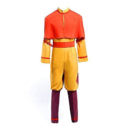 Aang - Disfraz de uniforme completo para hombre, para disfraz de Halloween, amarillo, M