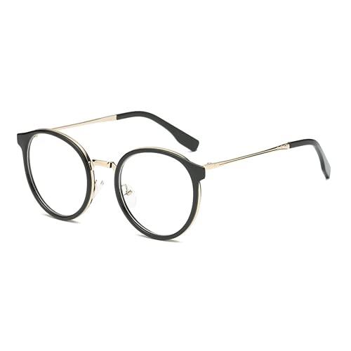 Suertree Gafas redondas con filtro de luz azul, borde de metal, para ordenador, sin graduación, montura de gafas, Negro ,