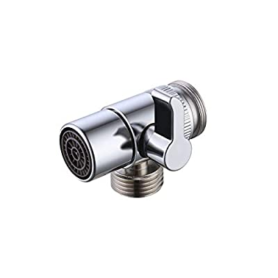 KES BRASS Sink Valve Diverter Faucet Splitter for Kitchen or Bathroom Sink Faucet Replacement Part Faucet to Hose Adapter M22 X M24, Polished Chrome, PV10