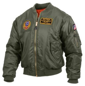 Rothco MA-1 Flight Jacket with Patches, Sage Green, L