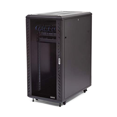 StarTech.com 25U Network Rack Cabinet on Wheels - 36in Deep - Portable 19in 4 Post Network Rack Enclosure for Data & IT Computer Equipment w/ Casters (RK2536BKF),Black