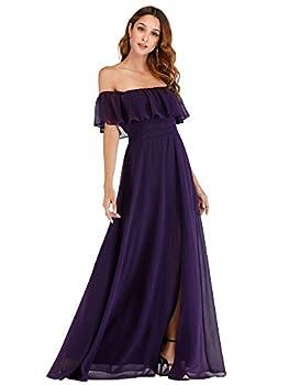 Women s Casual Off The Shoulder Loose Long Dress Wedding Guest Dress Purple US16