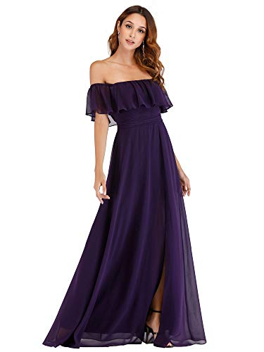 Women's Casual Off The Shoulder Loose Long Dress Wedding Guest Dress Purple US16
