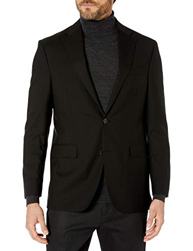 Kenneth Cole New York Men's Performance Stretch Wool Suit Separates-Custom Top and Bottom Size Selection, Extreme Black Jacket, 42R