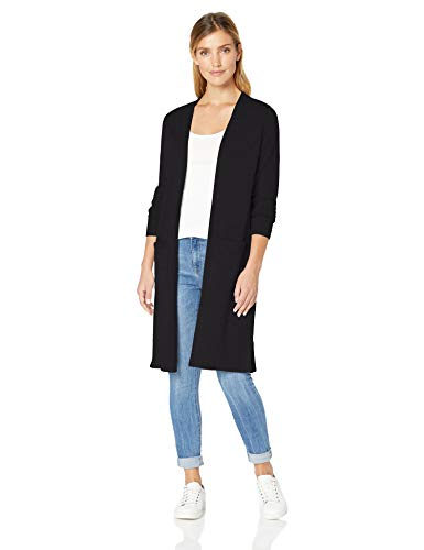 Amazon Essentials Damen-Strickjacke, leicht, längere Länge, Schwarz (Black Bla), Large